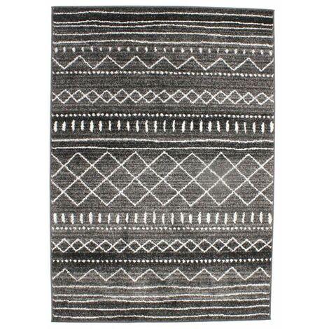 VENISE - <p>Tapis toucher laineux imprimé motifs ethniques noir 133x190</p> - Noir