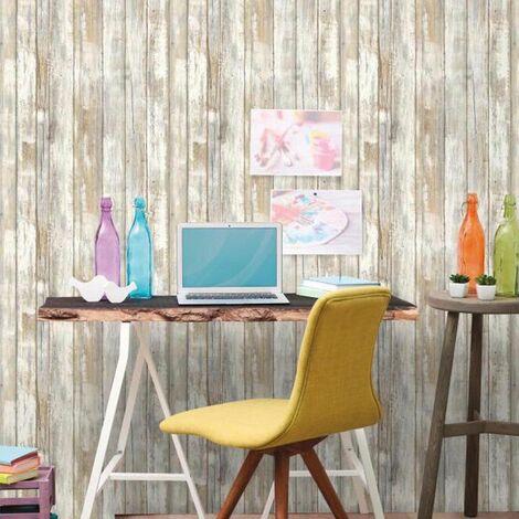 BOIS VIEILLI - <p>Sticker - Papier peint adhésif repositionnable et réutilisable bois vieilli 5x0,52m</p> - Marron