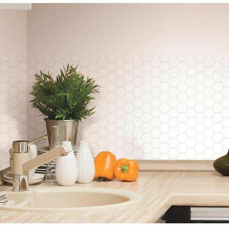 STICK TILE - <p>Sticker - Carrelage mural faïence adhésive motifs hexagones blancs - 4 plaques 26x26cm</p> - Blanc