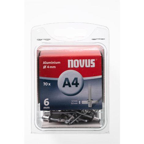 70 Novus Aluminium Blindnieten Ø4 mm, 6 mm,Typ A4/6mm Nr.: 045-0031