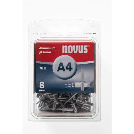 70 Novus Aluminium Blindnieten Ø4 mm, 8 mm,Typ A4/8mm Nr.: 045-0032