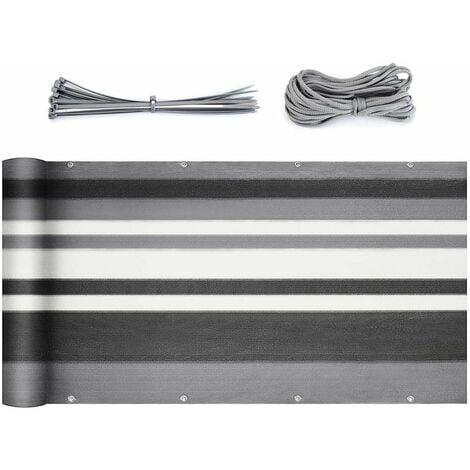 Sekey Balkon Sichtschutz Balkonabdeckung HDPE 220 g//m/² Nylon Kabelbinder und Kordel mit /Ösen Leicht Transparent Wind- und UV-Schutz Wetterfest 120 x 600cm Hellgrau