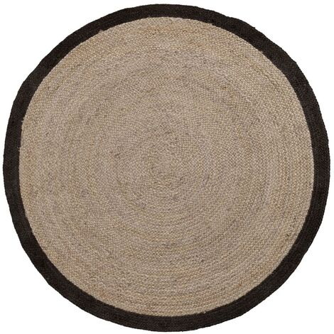 Kave Home - Tapis Saht beige et noir rond Ø 200 cm en jute naturel