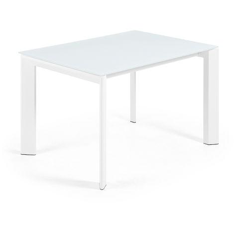 Kave Home - Table de salle à manger extensible Axis rectangulaire 120 (180) x 80 cm blanche en verre et pieds en acier blanc