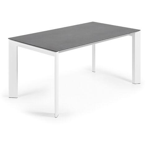 Kave Home - Table de salle à manger extensible Axis rectangulaire 160 (220) x 90 cm en porcelaine Vulcano Ro avec pieds en acier blanc