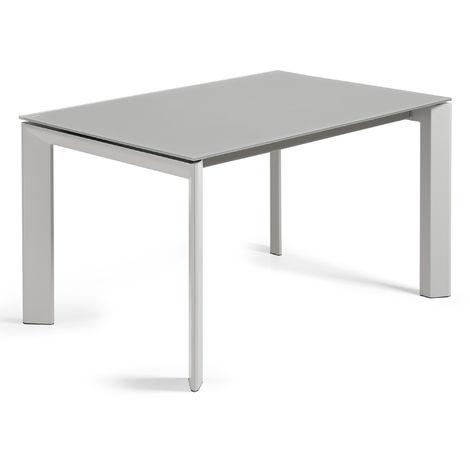 Kave Home - Table de salle à manger extensible Axis rectangulaire 140 (200) x 90 cm gris en verre avec pieds en acier gris