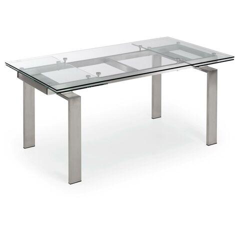 Kave Home - Table de salle à manger extensible Nara rectangulaire 160 (240) x 85 cm en verre et pieds en acier inoxydable