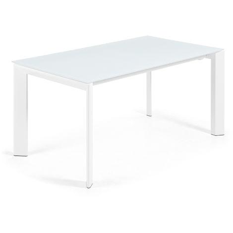 Kave Home - Table de salle à manger extensible Axis rectangulaire 160 (220) x 90 cm blanche en verre et pieds en acier blanc
