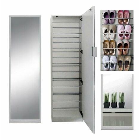 180CM Range-chaussures, meuble à chaussures, armoire + porte miroir, tablette à chaussures, blanche, commode à chaussure, casier-vestiaire manteaux