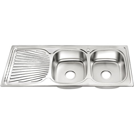 120cm stockage double évier intégré dans l'évier de cuisine en acier inoxydable 2 vasques