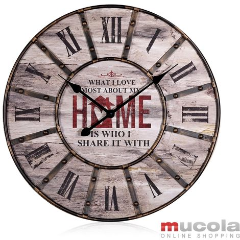 Horloge murale XXL Design Déco Murale Grande Horloge de cuisine Analogique Vintage Métal Bois Marron