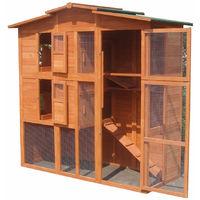 Cage de lapin,Poulailler, clapier du lapin en bois XXL, enceinte extérieure, roue libre