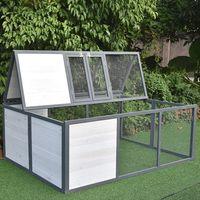 Enclos extérieur pliable pour lapins Enclos extérieur pour lapins Enclos pour cochons d'Inde Blanc / Gris