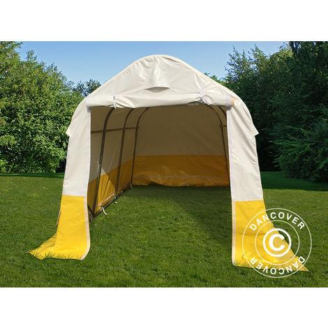 Tente de stockage Tente Abri PRO 2x3x2m, PVC, blanc/jaune, retardateur de flammes