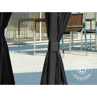 Tonnelle San Luis avec rideaux et moustiquaire, 3x3m, Noir