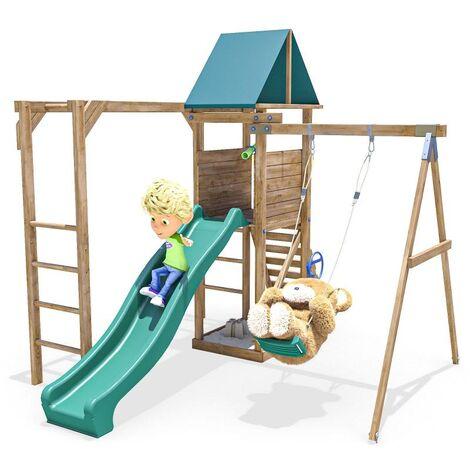 Climbing Frame MonkeyFort Wilderness - Playhouse Swing Set Wave Slide Monkey Bars Wooden