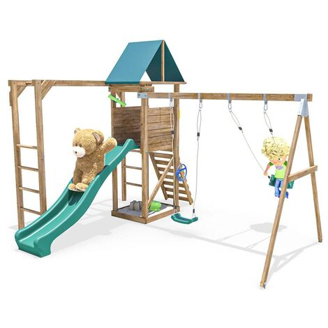 Climbing Frame MonkeyFort Woodland - Playhouse Swing Set Wave Slide Monkey Bars Wooden