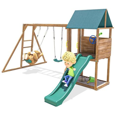 Climbing Frame SquirrelFort - Monkey Bars with Playhouse and Slide Swing Set Wooden
