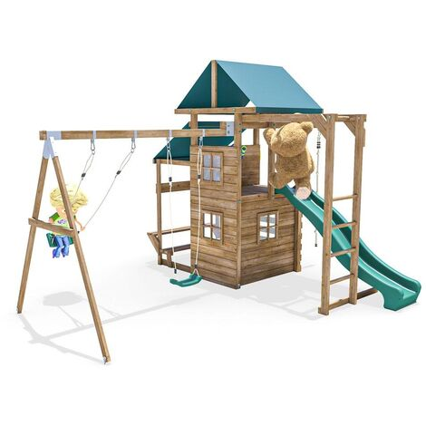 Climbing Frame - ManorFort Stronghold - Pressure Treated Wooden Garden Playhouse Swing Slide Set Monkey Bars Climbing Wall