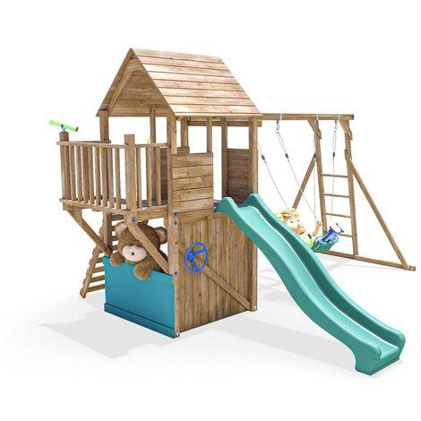 Climbing Frame BalconyFort Searcher - Wooden Playhouse Childrens Outdoor Play Tower Monkey Bar Swing Set Club House Slide