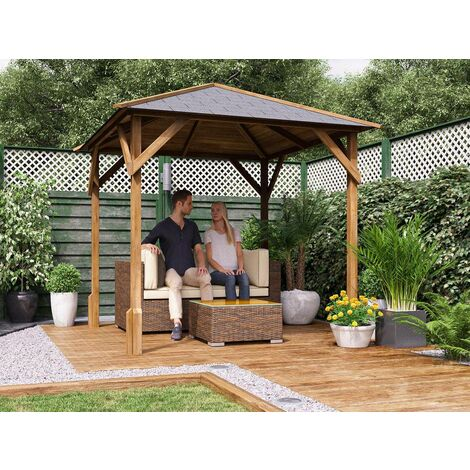 Wooden Gazebo Utopia 200 W2m x D2m - Heavy Duty Garden Shelter Pressure Treated and Roof Shingles