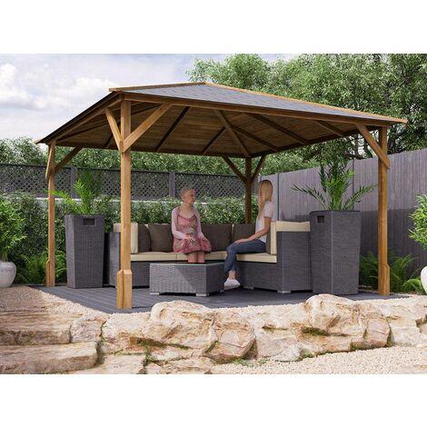 Wooden Gazebo Utopia 300 W3m x D3m - Heavy Duty Garden Shelter Pressure Treated and Roof Shingles