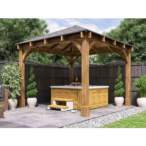 Wooden Gazebo Atlas W3.2m x D3.2m - Permanent Heavy Duty Pressure Treated Patio Shelter With Roof Shingles Included And 10 Year Guarantee
