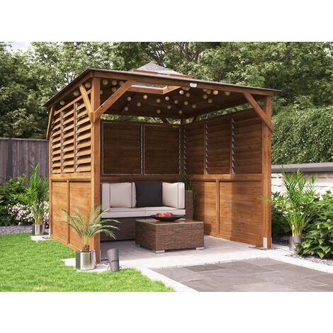 Wooden Gazebo Erin W2.5m x D2.5m - Half Height Solid Wall Half Louvre Garden Shelter Pressure Treated Hot Tub Pavilion with Roof Felt