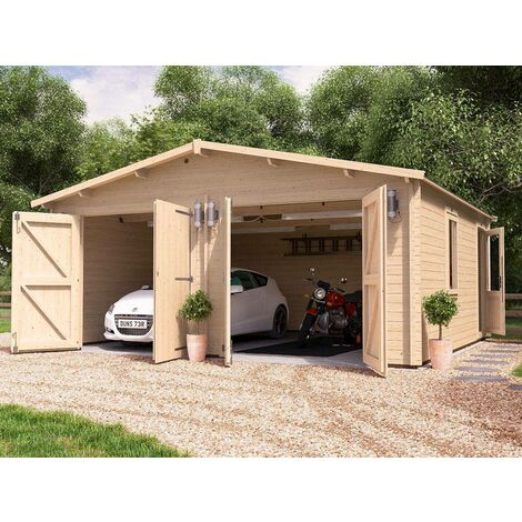 Wooden Double Garage Deore W6m x D5.5m - Garden Drive Car Storage Tool Shed Workshop Log Cabin Roof Felt