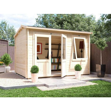 Log Cabin Carsare W3.5m x D2.5m - Shed Summer House Workshop Garden Office Man Cave 45mm Walls Double Glazed and Roof Shingles