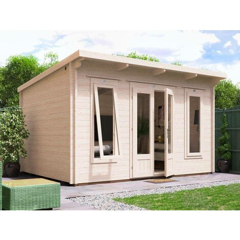 Log Cabin Terminator 4m x 3m - Summer House Garden Office Home Studio Man Cave 45mm Walls Double Glazed and Roof Felt