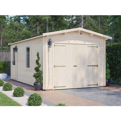 Wooden Garage Trent W3m x D5.5m - Low Roof Car Storage Garden Drive Heavy Duty Tool Shed Log Cabin Workshop Roof Felt