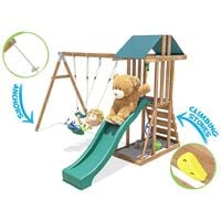 Climbing Frame JuniorFort Tower - Childrens Wooden Playset with swings and slide