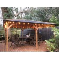 Wooden Gazebo Utopia 430 W4m x D3m - Heavy Duty Garden Shelter Pressure Treated and Roof Shingles