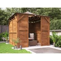 Wooden Gazebo Erin W2.5m x D2.5m - Solid Wall Panels and Front Panel Garden Shelter Pressure Treated Hot Tub Pavilion with Roof Felt