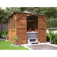 Wooden Gazebo Erin W2.5m x D2.5m - Half Wall Half Louvre and Front Panel Garden Shelter Pressure Treated Hot Tub Pavilion with Roof Felt