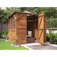 Wooden Gazebo Erin W2.5m x D2.5m - Enclosed Louvre Panels Garden Shelter Pressure Treated Hot Tub Pavilion with Roof Felt