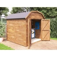 8x8 Dutch Barn Style Garden Shed Tool Storage Workshop Heavy Duty Pressure Treated Timber with Roof Felt