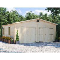 Wooden Double Garage Deore W6m x D5.5m - Garden Drive Car Storage Tool Shed Workshop Log Cabin Roof Felt