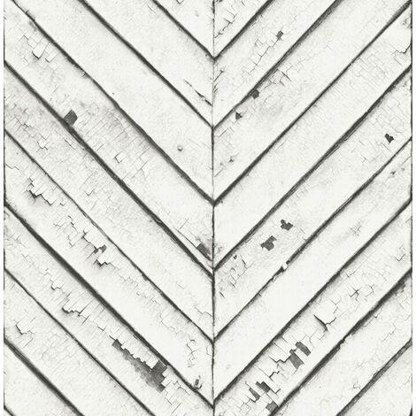 Papier Peint Intissé Parquet ancien Vinyle 1005 x 52cm Blanc