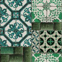 Papier Peint Intissé Carreaux de Faïence portugais Vinyle 1005 x 52cm Vert
