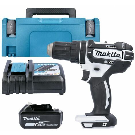 Makita DHP482Z White 18V Combi Drill With 1 x 5.0Ah Battery, Charger & Type 2 Case