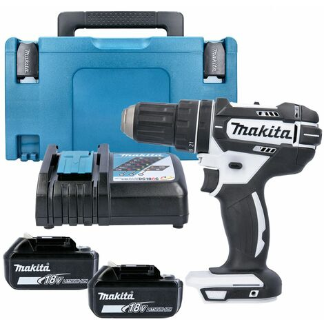 Makita DHP482Z White 18V Combi Drill With 2 x 5.0Ah Batteries, Charger & Type 3 Case
