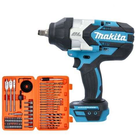 """Makita DTW1002 18V 1/2"""" Brushless Impact Wrench With 56 Piece Drill & Screwdriver Bit Set"""