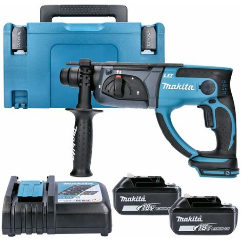 Makita DHR202 18V SDS+ Hammer Drill With 2 x 6.0Ah Batteries, Charger, Case & Inlay