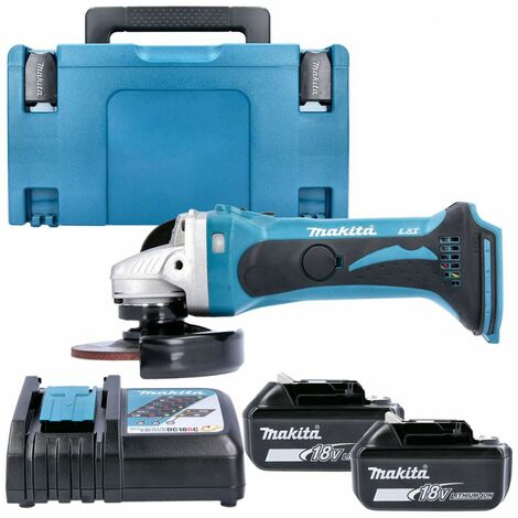 Makita DGA452 18v 115mm Angle Grinder With 2 x 6.0Ah Batteries, Charger & Case