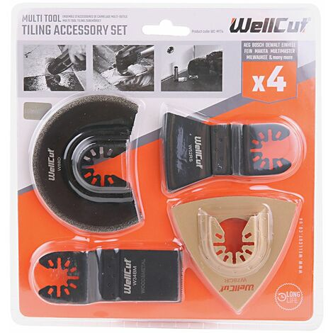 Wellcut Oscillating Multi Tool Saw Blades Kit 4 Piece Tiling Accessories Set