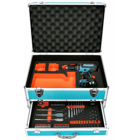 Makita DHP482 18V LXT Combi Drill With 70 Piece Accessory Set in Aluminum Case