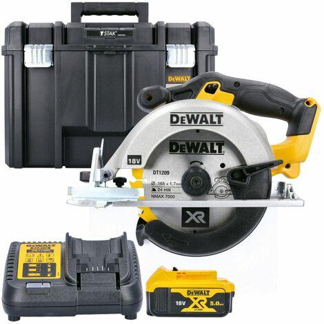 DeWalt DCS391N 18V XR li-ion Circular Saw 165mm Body With 1 x 5.0Ah Battery, Charger & Case