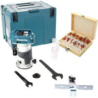 """Makita DRT50ZJ 18V Brushless Router/Trimmer With 12 Piece 1/4"""" Cutter Set"""